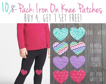 162050467a669 Knee Patches, Iron on Knee Patches, Iron on Heart Patch, Girls Iron on Knee  Patches, DIY Knee Patch Leggings, Iron on Patch Set