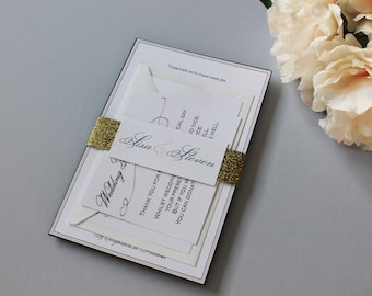 Calligraphy sample etsy nz calligraphy wedding invitations handmade with glitter belly band elizabeth 2005 sample only stopboris Image collections