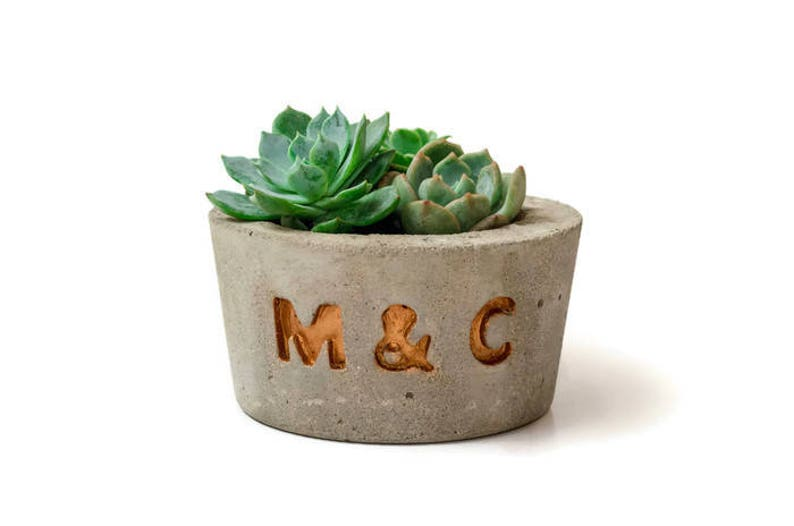 Custom concrete planter Concrete Planter with Initials image 0