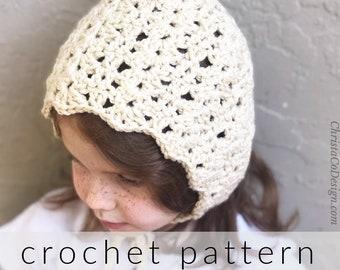 Crochet Pattern Bella Bonnet   Crochet Bonnet Pattern   Pixie Hat Crochet Pattern   VIntage Bonnet   Crochet Hood Pattern   PDF Pattern