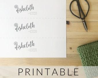 Printable Label Dishcloth Gift Tag   Pdf Download Dishcloth Printable Wrapper   Handmade Tag Dishcloth Gift Label   Gift Tag Crochet Knit