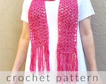 Crochet Pattern Merletto Scarf   Lacy Scarf Pattern   Summer Scarf   Skinny Scarf Crochet Pattern   Lightweight Cotton Scarf Pattern PDF