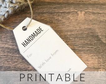 Printable Gift Tags Handmade   Labels Handmade Tags   Crochet Gift Tag Printable PDF   Handmade Tag   Handmade Gift Tag PDF Download  Gift