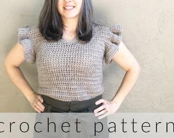 Crochet Pattern Summer Top   Gia Crochet Summer Tee Pattern   Ruffle Sleeve Crochet Shirt for Women   PDF Pattern Crochet Top   V-Neck Shirt