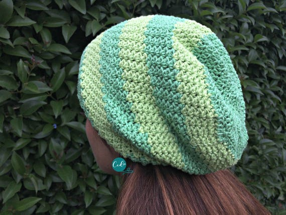 Striped Slouchy Hat Crochet Pattern Etsy