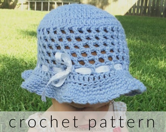 Crochet Pattern   Summer Sun Hat Crochet Pattern   Baby Hat   Crochet Gift   Baby Shower   Girl Hat   Brim Hat   Cotton Hat   summer hat