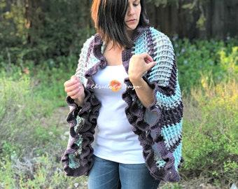 Strisce Ruffle Edge Crochet Wrap Pattern
