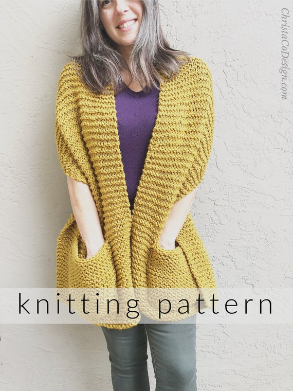 Knitting Pattern Giana Pocket Shawl  Beginner Knitting Shawl