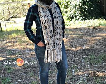 Veneto Fringed Crochet Scarf Pattern