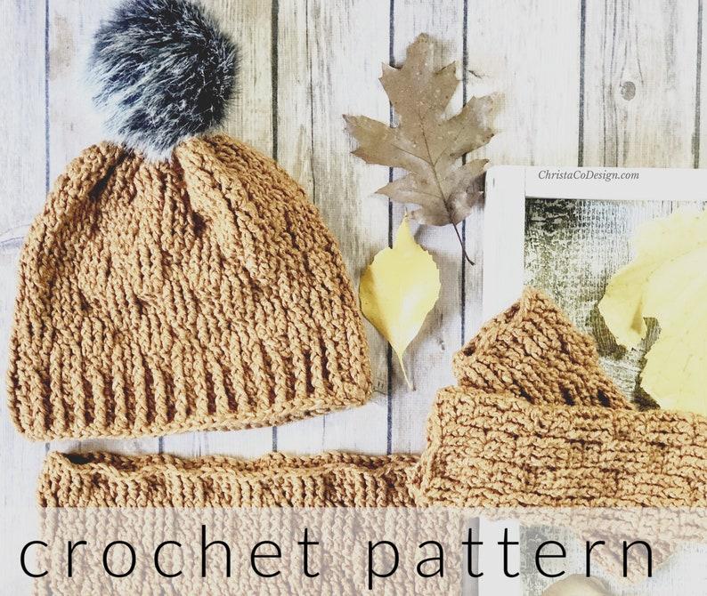 Crochet Pattern Set  Pinerolo Accessories Set  Crochet Hat  image 0