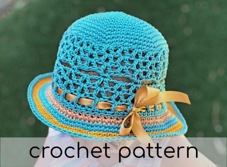 Lunette Sun Hat Crochet Pattern  Baby Sun Hat  Toddler Sun image 0
