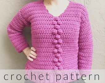 Crochet Pattern Briones Sweater   Crochet Bobble Sweater Pattern   Women's Chunky Sweater Crochet Pattern   V-Neck Sweater Crochet PDF