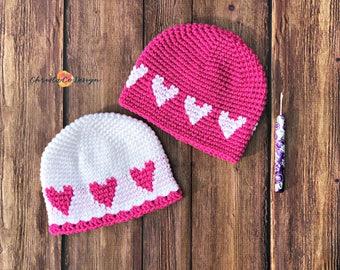 Heart Hat Crochet Pattern Only