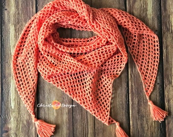 Easy Mesh Triangle Shawl Crochet Tutorial & Pattern