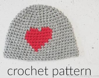 Crochet Pattern Hat   Pebbled Heart Hat Crochet Pattern   Top Down Beanie Crochet Pattern   Valentine's Day Crochet Hat Heart   Textured Hat