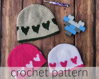 Crochet Pattern Sweetheart Hat   Baby Hat   Toddler Hat   Heart Hat   Valentine's Day