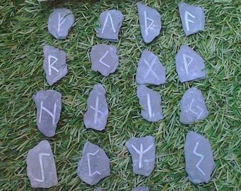 Engraved slate Elder Futhark runes + bag. Handmade, unique  elder futhark viking norse slate runes pagan divination