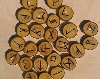 Elder Futhark runes Tree of life Ash pyrographed 25 runes + jute bag.Handmade, unique  elder futhark viking norse ash runes pagan divination
