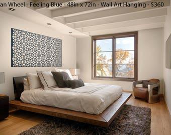Laser Cut Designer Felt Panels and Room Dividers: Room Divider, Modern Hanging Panel, Wall Art, for Home+Office, Design-Persian Wheel