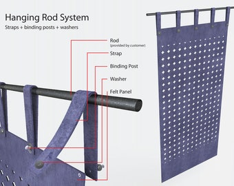 Laser Eco Felt Panel Hanging Method:  Straps for the Rod