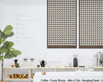Laser Cut Designer Felt Panels and Room dividers: Interior Room Divider, Modern Hanging Panel, Wall Art, for Home+Office, Design-Coffee