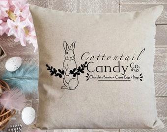 Easter Decor Rustic Farmhouse Style Peter Cottontail Pillow Envelope Pillow Easter Bunny Pillow Cover Canvas Drop Cloth Pillow