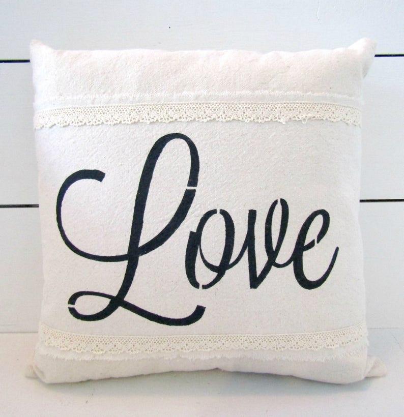 Shabby Chic Farmhouse Pillow Love Lace Farmhouse Bedroom Etsy