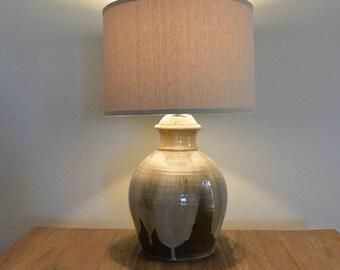 Vintage Artist Signed Drip Glaze Lamp