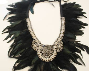 Black and silver colored rooster feathers statement necklace