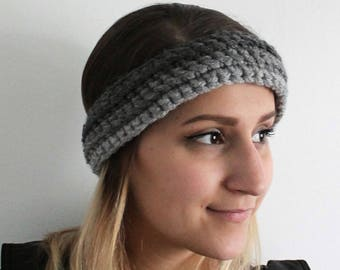 Headband crocheted in 3 shades of grey