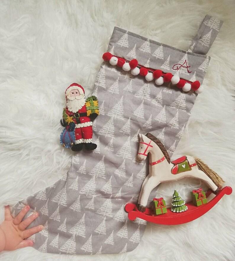 Grey Christmas Stockings Personalised.Christmas Stockings Xmas Stockings Personalised Stocking Grey Xmas Stockings Grey Christmas Stocking Pom Pom Stockings Xmas Decoration