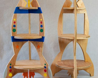 Slide To Create Rocket Ship Wooden Painted Playset Dramatic Play Boys Space Alien Robot Set Sturdy Montessori Waldorf Inspired