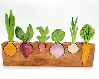 Root Vegetable Puzzle - Montessori and Waldorf inspired education toy   6 Veggies