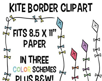 Kite border clipart etsy popular items for kite border clipart voltagebd Image collections