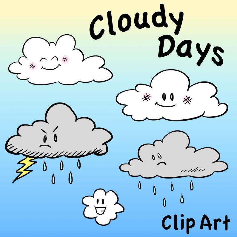 Cute rain cloud printable digital clipart png set for ...