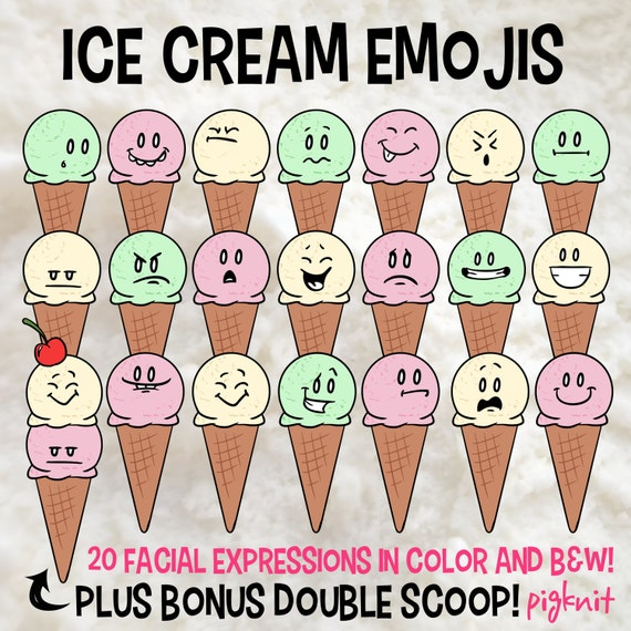 Ice Cream Summer Emoji Printable Digital Clipart Png Set For Etsy