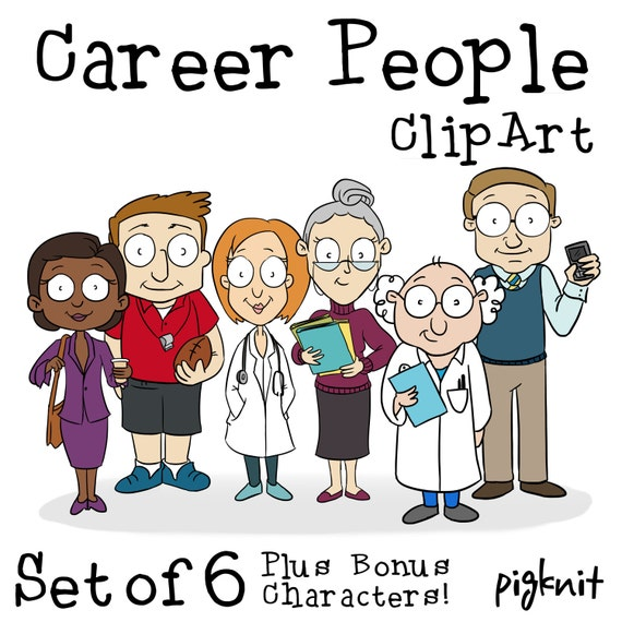 Career Cartoon People Printable Digital Clipart Png Set For Etsy