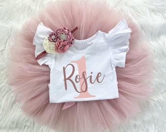 Personalized 1st Birthday Girl Blush Pink and Mauve Tutu Outfit, Vintage Rose Onesie®, Cake Smash Outfit Headband Custom Name Outfit