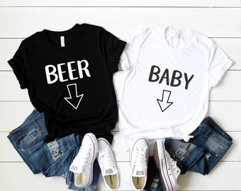 d570906d7 BEER BABY Pregnancy Announcement Shirts Pregnant Couple Shirts for Pregnancy  Photos Expectant Mother Funny