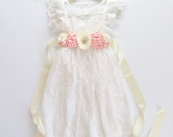 872347dd8d3 Long Lace Flower Girl Dress With Floral Sash and Matching Headband Creamy White  Lace Boho Bohemian Wedding Party Rustic Wedding Country