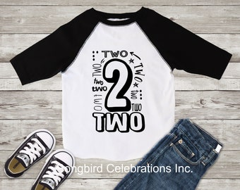 83d4ae51 2nd Birthday Boy Shirt Second Birthday Boy Shirt Two Word 2 Shirt Baseball  Style Raglan Jersey Style Personalized Name and Number on Back