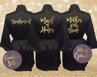 21e8df1198 Bridesmaid Robes Bridal Party Satin Robes Gold Foil Bride Wedding Party Robe  Blush Ivory Black White Pink Personalized Gift Monogrammed