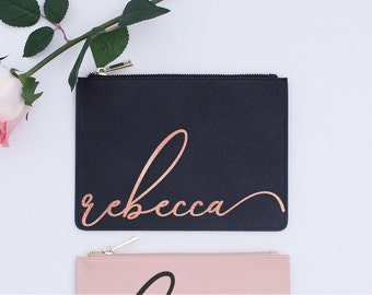 Sweet 16 Gift Saffiano Leather Pouch Blush Pink Black Best Friend Personalized Birthday Gold Foil Rose Script Name 21st