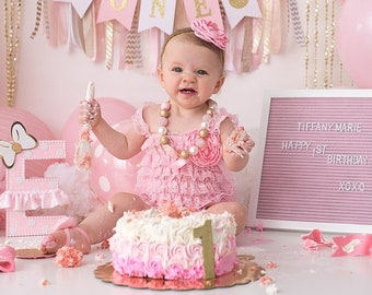 68bdd2b2 Pink & Gold Lace Romper 1st Birthday Girl Outfit Baby Headband Flower Girl  Cake Smash Photo Prop Leg Warmers