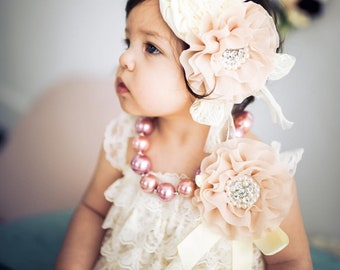 15c41bca51e6 Ivory Lace Romper 1st Birthday Girl Outfit Baby Headband Flower Girl Cake  Smash Easter Outfit Baby Girl Vintage Style Heritage Collection