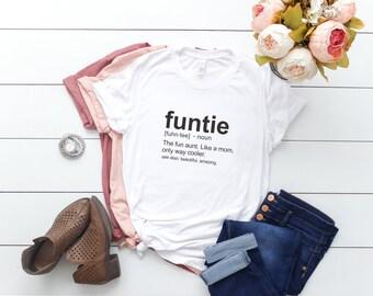 bf3320534ddcf Funtie Definition Shirt Fun Auntie Funny Aunt Gift Mauve Peach White Black  Grey Shirt Fun Gift for Aunt Gift for Sister Gift for Her