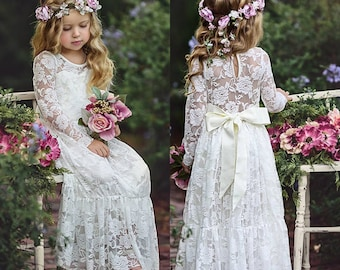 32791fa39c Long Sleeve Lace Flower Girl Dress