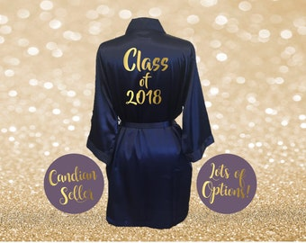Class of 2018 Satin Robe Graduation Party Gift Robe Blush Pink Red Navy  Champagne Ivory Black Gold Foil Custom Personalized Grad Gift ade943438