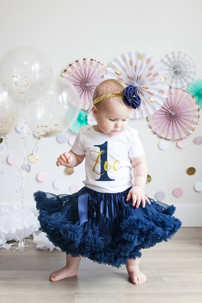 abf1de53d450 First Birthday Girl Outfit Navy Blue   Gold Silver One Tutu