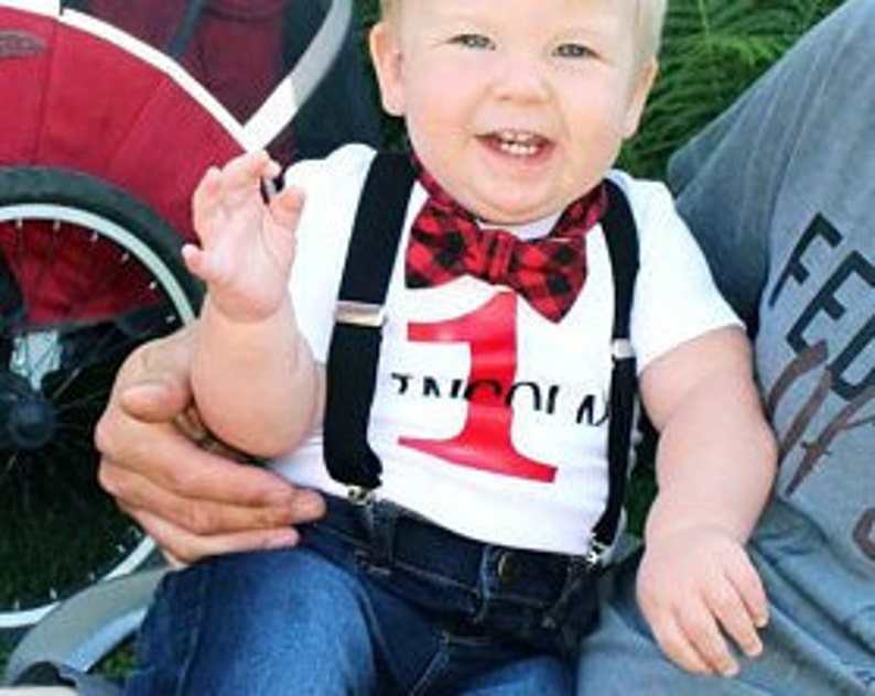 a4ea4134b 1st Birthday Boy Outfit Buffalo Plaid Bow Tie Suspenders | Etsy